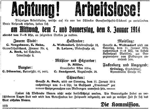 Achtung Arbeitslose_Lübecker Volksbote 5.1.1914