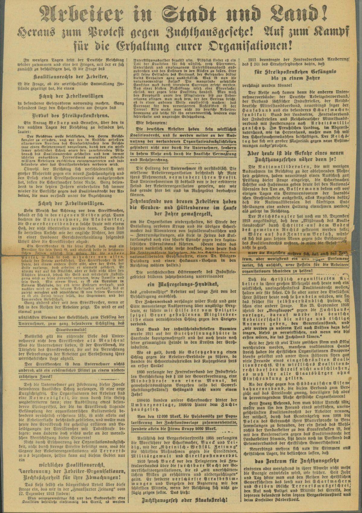 Flugschrift der SPD-Parteileitung des Kreises Essen und des Gewerkschaftskartells des Kreises Essen mit Aufruf zu Protestveranstaltungen am 11. Januar 1914. Rechte: Archiv der sozialen Demokratie der Friedrich-Ebert-Stiftung.