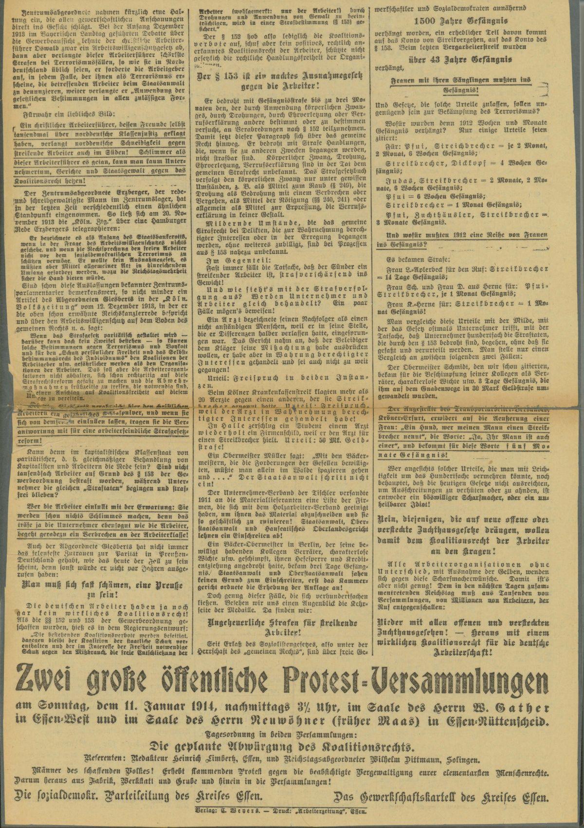 Rückseite der Flugschrift. Rechte: Archiv der sozialen Demokratie der Friedrich-Ebert-Stiftung.