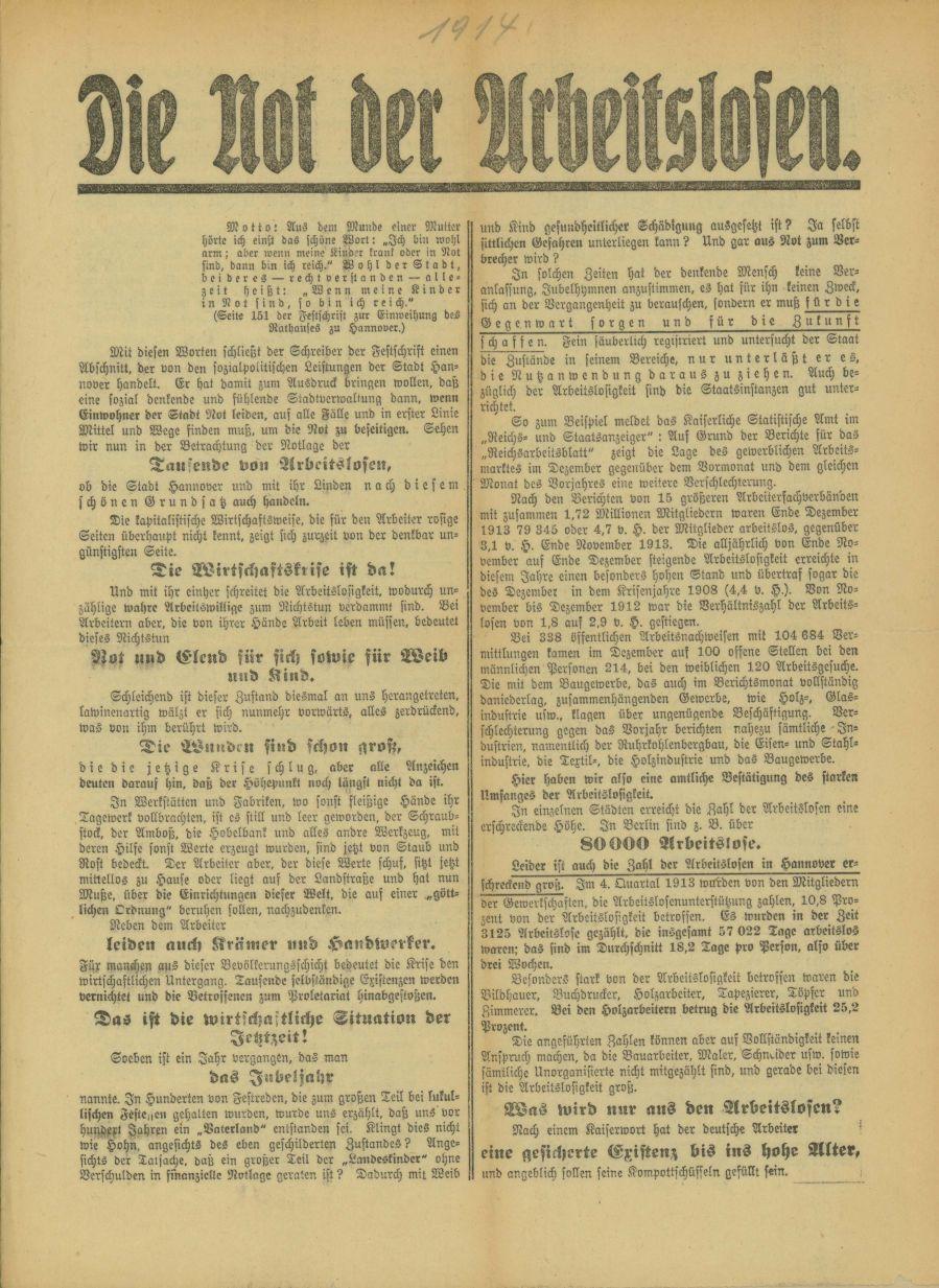 Flugblatt des Sozialdemokratischen Wahlvereins Hannover vom 28. Januar 1914. Quelle: Archiv der sozialen Demokratie der Friedrich-Ebert-Stiftung.