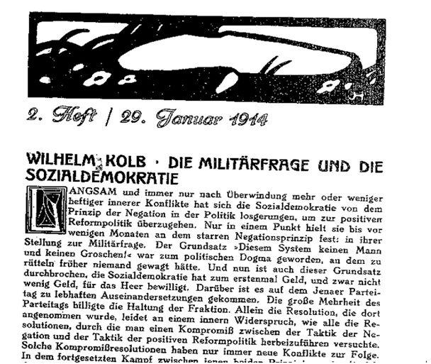 Militärfrage und SPD_Sozialistische Monatshefte_29.1.1914