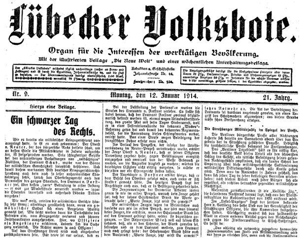 Urteil Zabern-Affäre_10.1.1914