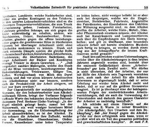 Bericht der »Volkstümlichen Zeitschrift für praktische Arbeiterversicherung« vom 1. März 1914.