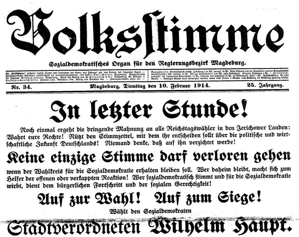 Aufruf zur Nachwahl in der »Volksstimme« vom 10. Februar 1914.