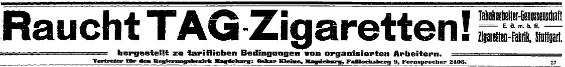 Anzeige der Tabakarbeiter-Genossenschaft in der »Volksstimme« vom 11. Februar 1914.