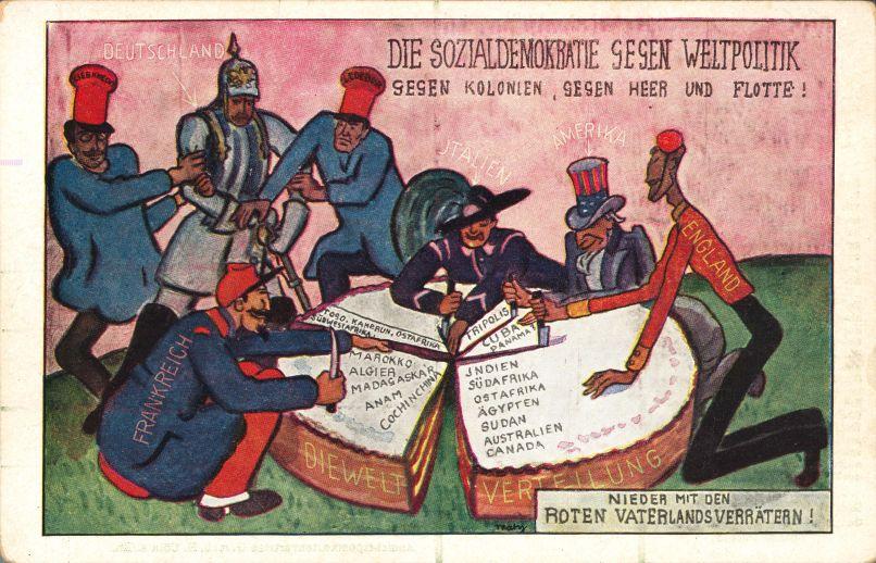 Wer die ›Weltverteilung‹ nicht guthieß, galt bei Befürwortern des Kolonialismus als ›Vaterlandsverräter‹. Postkarte der Zentrumspartei, ca. 1912. Rechteinhaber nicht ermittelbar.