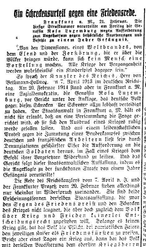 Ausschnitt aus der »Volksstimme« vom 22. Februar 1914.