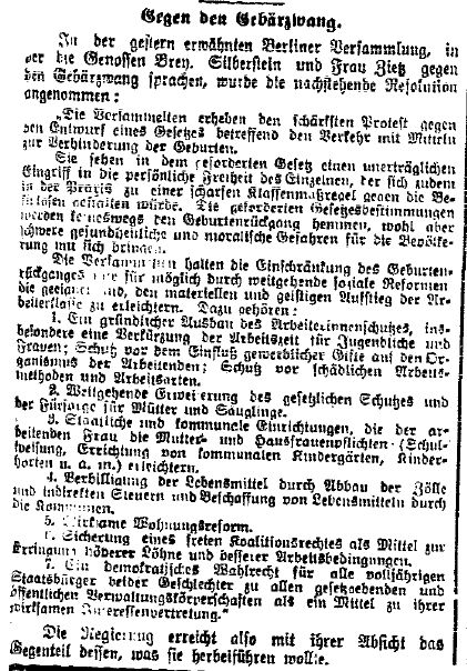 Die auf der Versammlung am 3. März 1914 angenommene Resolution gegen den Gebärzwang. Ergänzung zum Vortagesbericht der »Volkswacht« für Schlesien, Posen und die Nachbargebiete vom 6. März 1914.