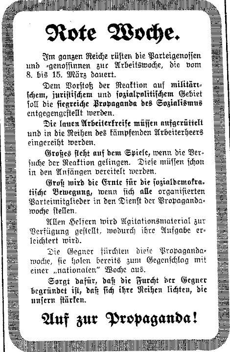 Aufruf zur Roten Woche im »Lübecker Volksboten« vom 8. März 1914.