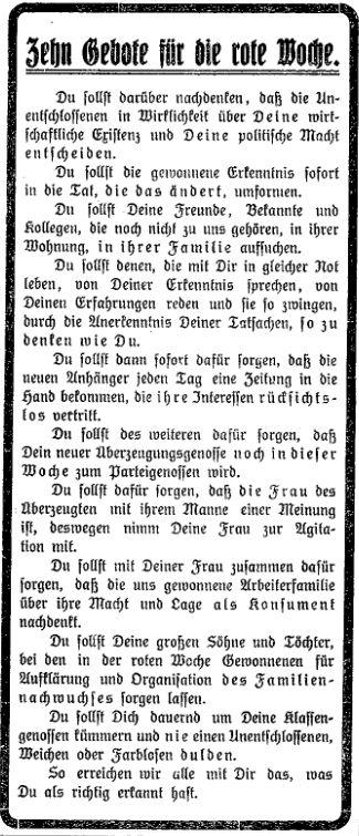 Die »Zehn Gebote« für erfolgreiche Agitation. »Lübecker Volksbote« vom 11. März 1914.
