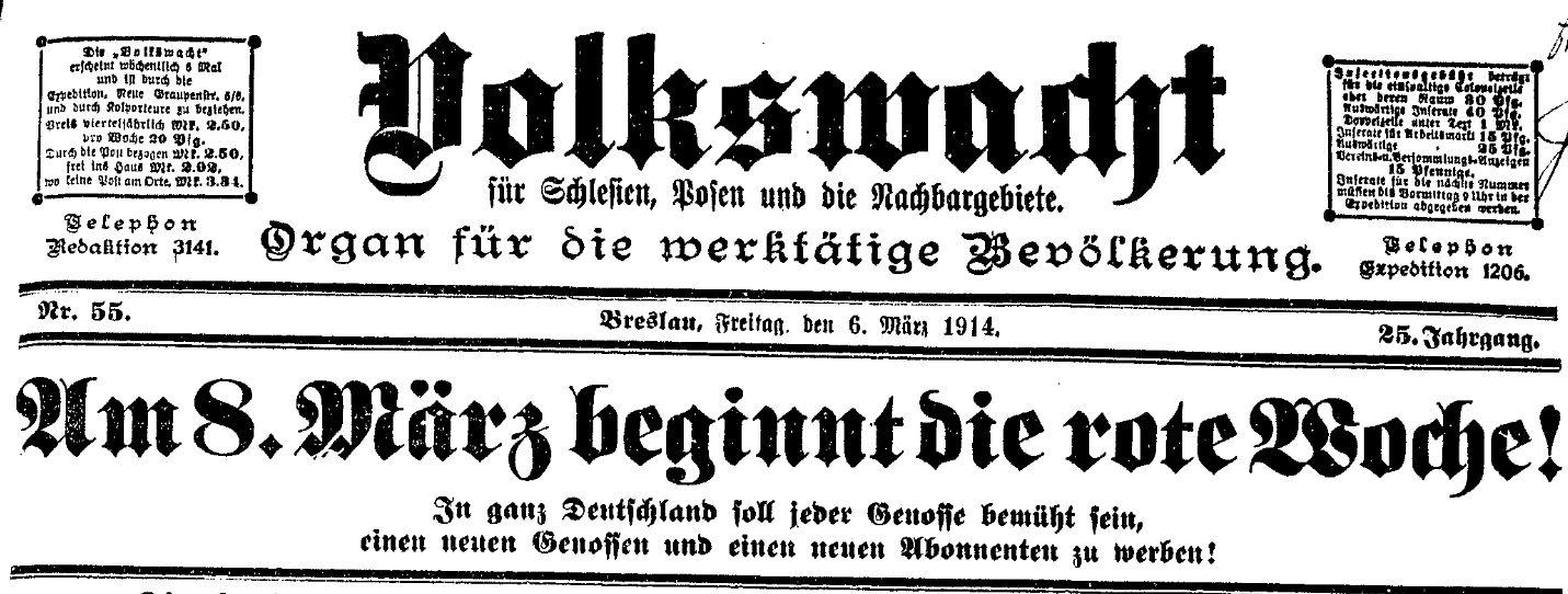 Aufruf zur Roten Woche in der »Volkswacht« für Schlesien, Posen und die Nachbargebiete vom 6. März 1914.