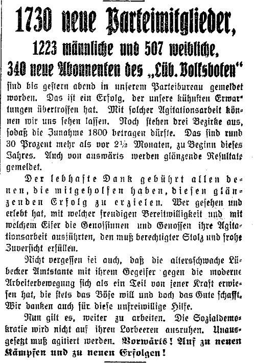 Danksagung für die erfolgreiche Agitation in Lübeck im »Lübecker Volksboten« vom 17. März 1914.