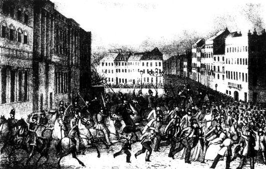 Illustration: »Angriff der Dragoner auf das unbewaffnete Volk vor dem königlichen Schloße zu Berlin, am 18. März« 1848. Rechteinhaber nicht ermittelbar.