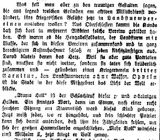 Auszug aus dem strafrechtlich relevanten Artikel der »Volkswacht« für Schlesien, Posen und die Nachbargebiete vom 7. Januar 1914.