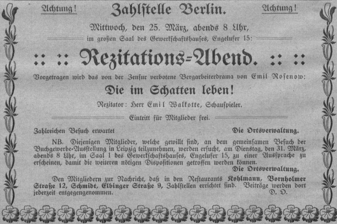 Bekanntmachung in der »Buchbinder-Zeitung« vom 22. März 1914.