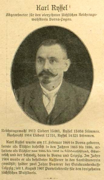 Kurzporträt des neuen Reichstagsabgeordneten Karl Ryssel aus »Der Wahre Jacob«, Nr. 724, vom 18. April 1914, S. 8302.
