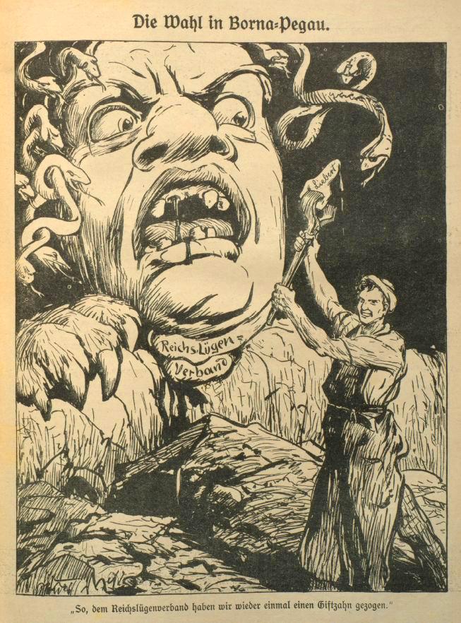 Karikatur zur Wahl in Borna-Pegau aus »Der Wahre Jacob«, Nr. 724, vom 18. April 1914, S. 8303.