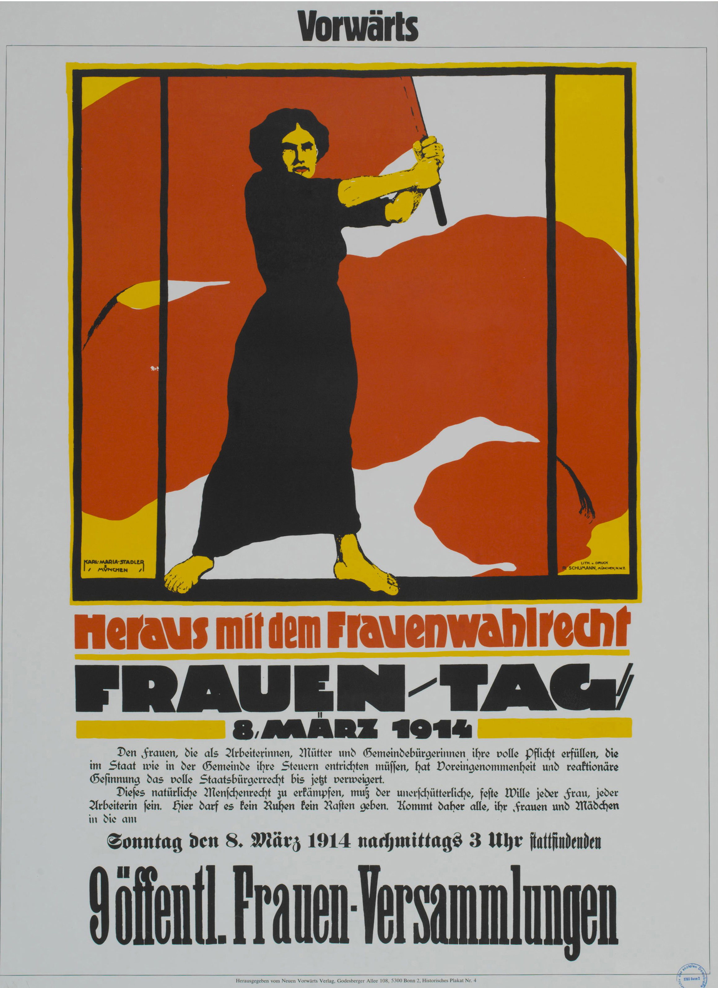 Für gleiche Rechte bei gleichen Pflichten! SPD-Plakat zum Internationalen Frauentag am 8. März 1914. Quelle: Archiv der sozialen Demokratie der Friedrich-Ebert-Stiftung.