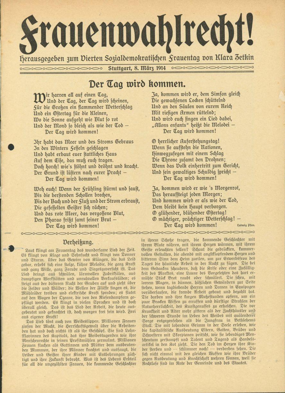 Titelblatt der von Clara Zetkin verfassten Flugschrift zum Vierten Sozialdemokratischen Frauentag am 8. März 1914. Quelle: Archiv der sozialen Demokratie der Friedrich-Ebert-Stiftung.