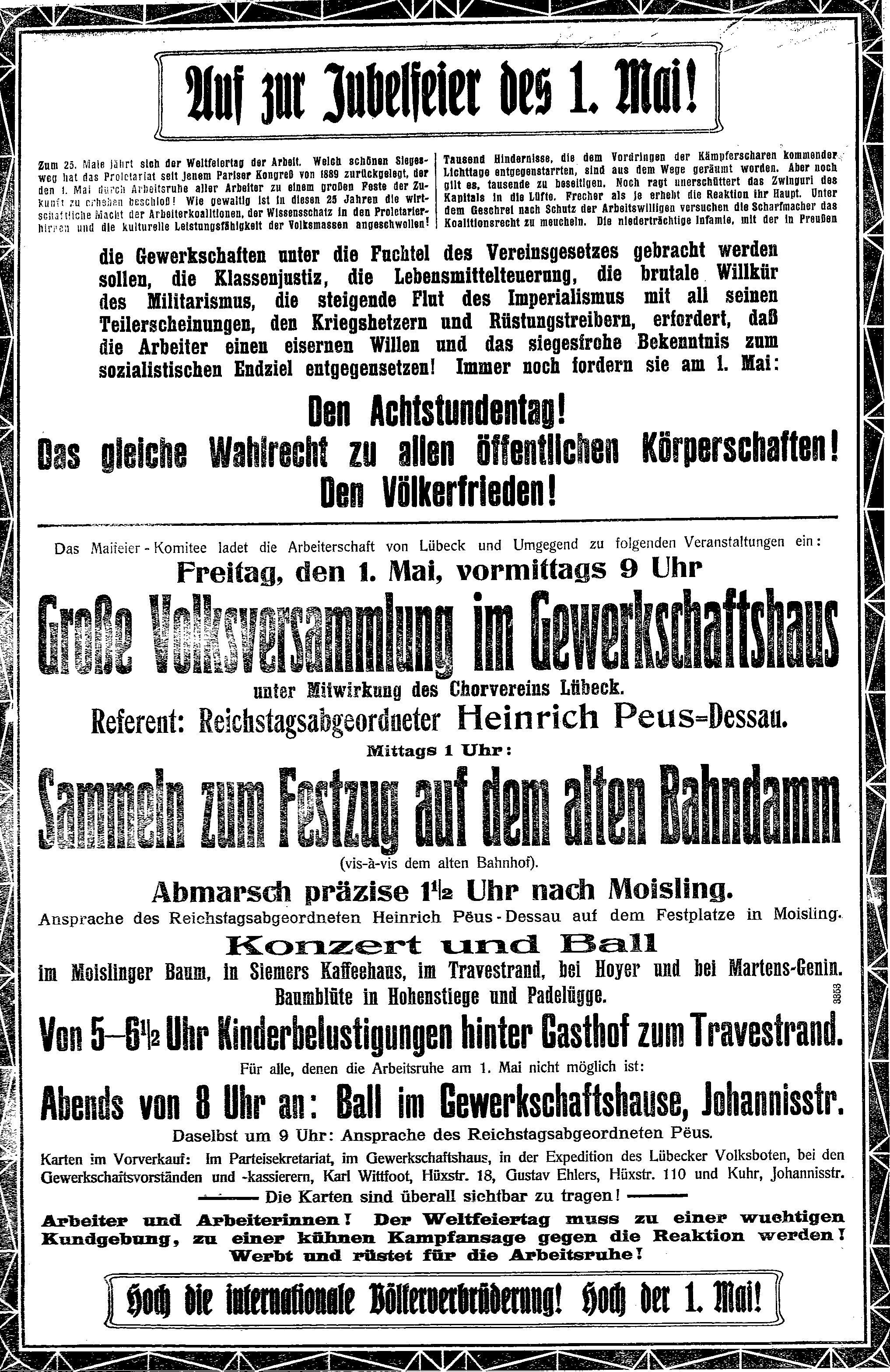 Aufruf zur Maifeier 1914 im »Lübecker Volksboten« vom 23. April 1914.