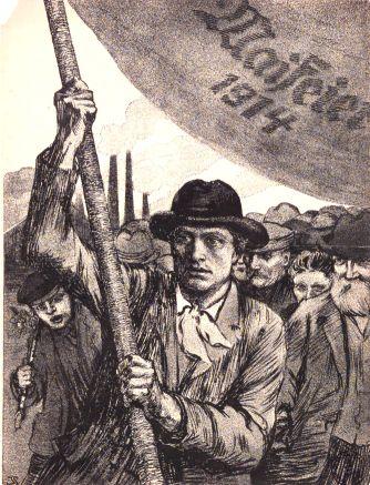 Plakat zur Maifeier 1914. Quelle: Archiv der sozialen Demokratie der Friedrich-Ebert-Stiftung.