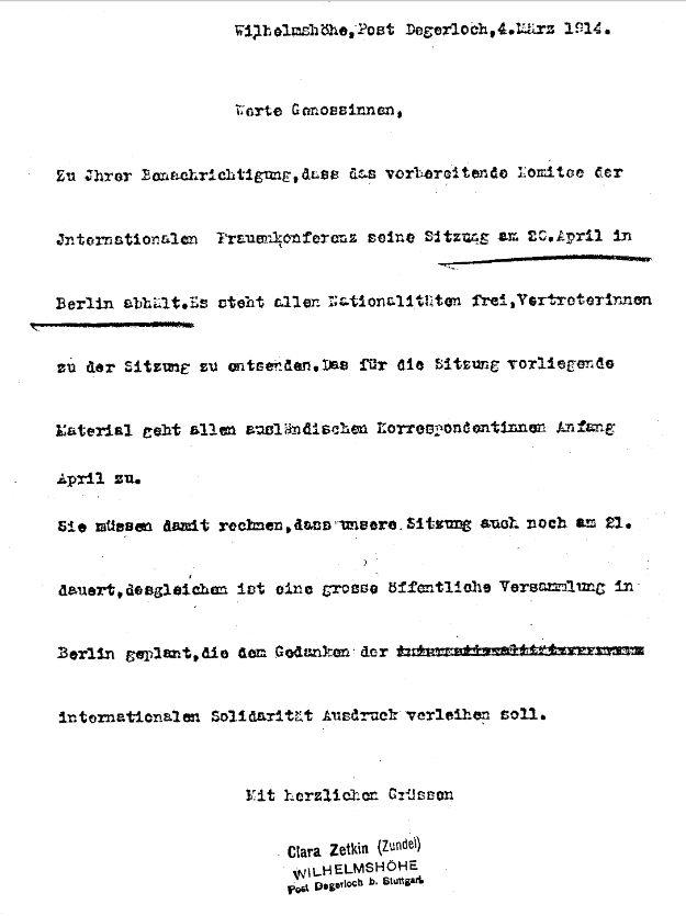 Einladung Clara Zetkins zur vorbereitenden Sitzung des Komitees für die Internationale Frauenkonferenz 1914 in Wien am 20. April in Berlin.
