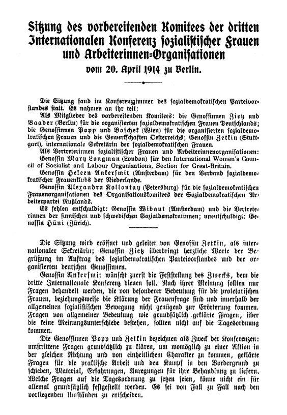 Erste Seite des Sitzungsprotokolls vom 20. April 1914.