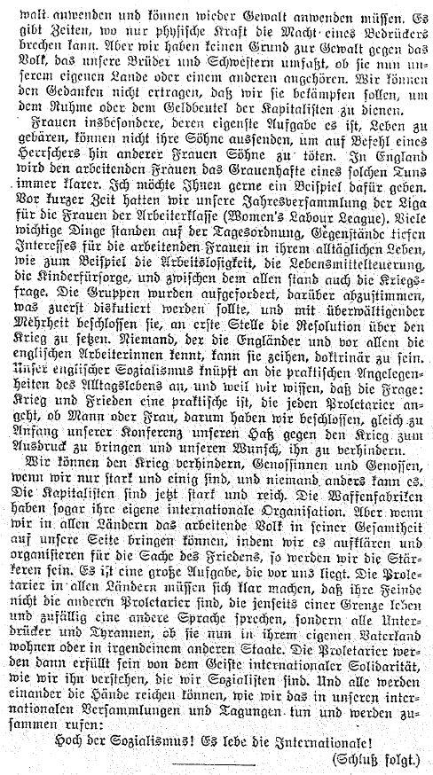 Bericht über die Demonstrationsveranstaltung in: »Die Gleichheit« vom 13. Mai 1914.