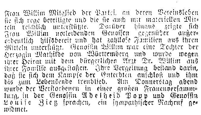 Meldung des »Lübecker Volksboten« vom 25. April 1914 zum Tod von Pauline Willim.