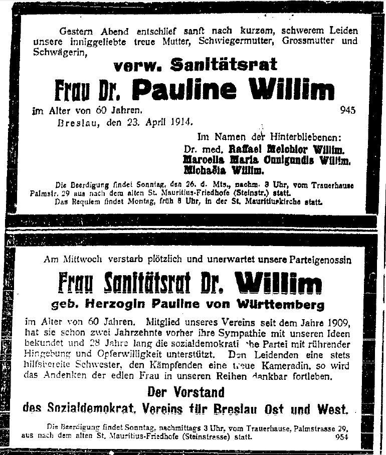 Traueranzeigen in der »Volkswacht« für Schlesien, Posen und die Nachbargebiete vom 24. April 1914.