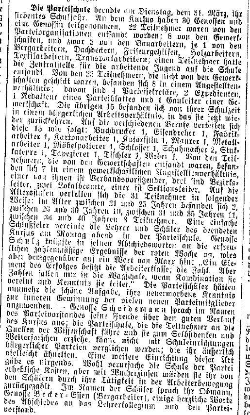 Bericht des »Lübecker Volksboten« vom 3. April 1914 über die Teilnehmerstruktur der Parteischule.