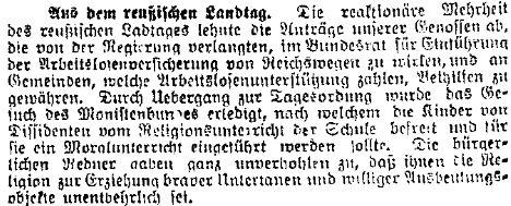 Bericht der »Volkswacht« für Schlesien, Posen und die Nachbargebiete vom 4. April 1914 über den »reaktionären« preußischen Landtag.