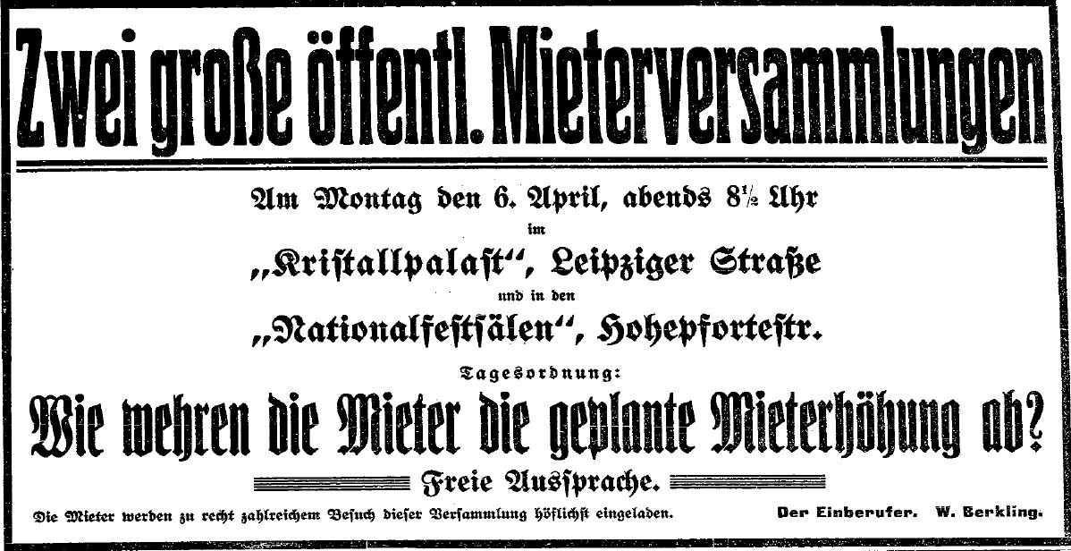 Ankündigung zu den vom Sozialdemokraten W. Berkling einberufenen Mieterversammlungen in der »Volksstimme« (Magdeburg) vom 5. April 1914.
