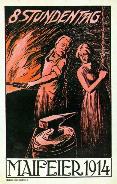 Der Achtstundentag war seit Beginn der Maifeiern eine zentrale Forderung der Arbeiterschaft. Postkarte zum 1. Mai 1914. Quelle: Archiv der sozialen Demokratie der Friedrich-Ebert-Stiftung.