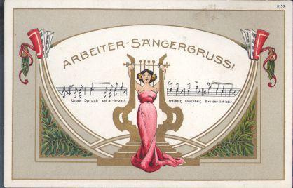 Postkarte von 1908 mit Arbeitersängergruß. Quelle: Archiv der sozialen Demokratie der Friedrich-Ebert-Stiftung.