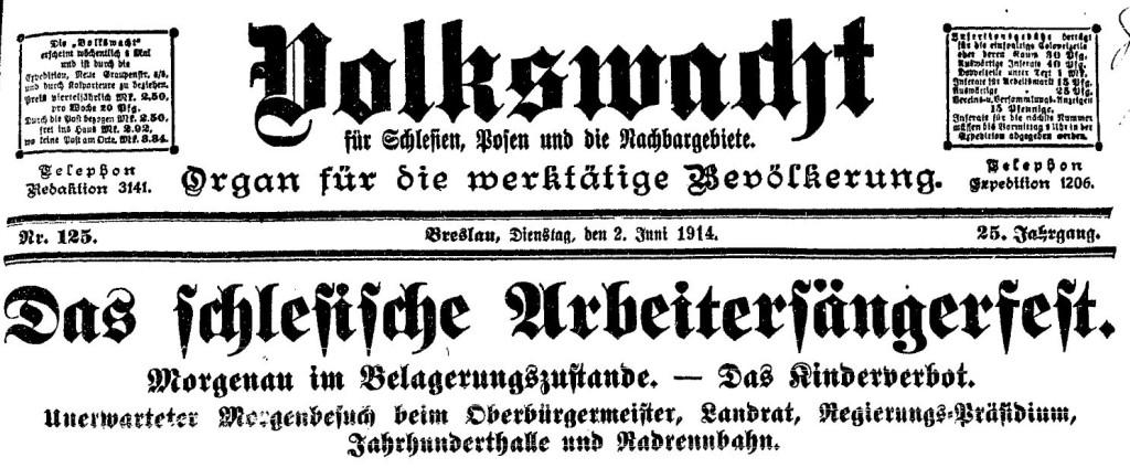 Ausschnitt des Titelblatts der »Volkswacht« für Schlesien, Posen und die Nachbargebiete vom 2. Juni 1914.