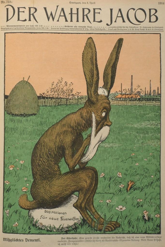 Schon vor der Beratung im Parlament machten im Frühjahr 1914 Gerüchte über eine neue Militärvorlage die Runde. Reichskanzler Theobald von Bethmann Hollweg hatte das zunächst dementiert. Titelblatt des »Wahren Jacobs« vom 4. April 1914, Nr. 723, S. 8281.