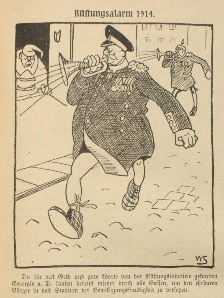 Rüstungsalarm 1914. Karikatur aus »Der Wahre Jacob« vom 4. April 1914, Nr. 723, S. 8283.