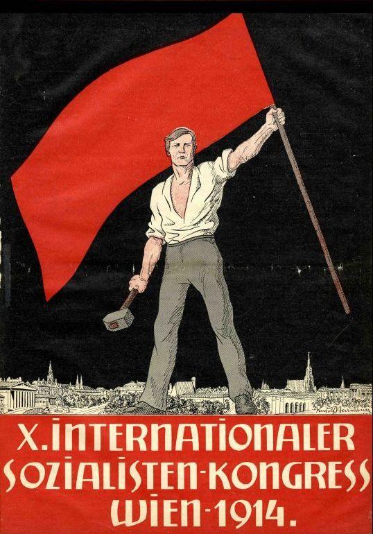 Deckblatt der Broschüre zum X. Internationalen Sozialistenkongress in Wien 1914, Wien [1914]. Quelle: Archiv der sozialen Demokratie der Friedrich-Ebert-Stiftung.