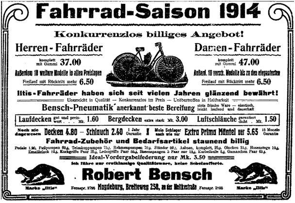 Fahrräder gehörten in der ersten Hälfte des Jahres 1914 neben Lebensmitteln und Bekleidungsartikeln zu den oft beworbenen Konsumgütern in der Arbeiterpresse. Hier eine Anzeige aus der »Volksstimme« (Magdeburg) vom 23. Mai 1914.