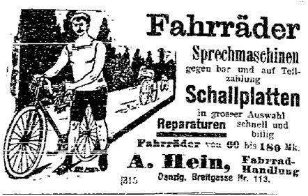 Fahrradanzeigen aus der »Volkswacht« (Westpreußen) vom 6. Mai 1914.