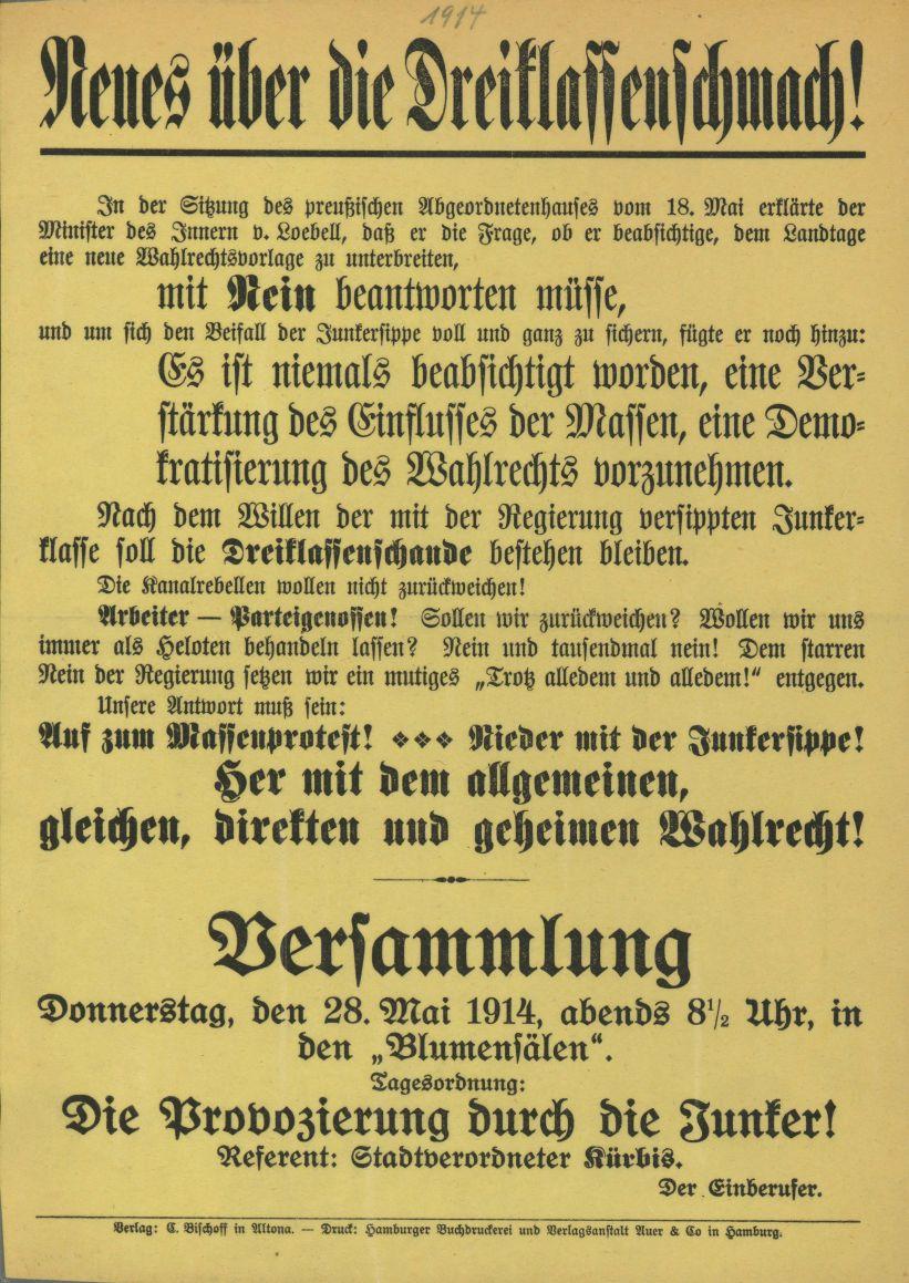 Flugblatt mit Aufruf zur Versammlung in Altona. Quelle: Archiv der sozialen Demokratie der Friedrich-Ebert-Stiftung.
