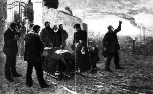 Illustration einer Beerdigung eines Arbeiters: »Das Opfer der Maschine«. Rechteinhaber nicht ermittelbar.
