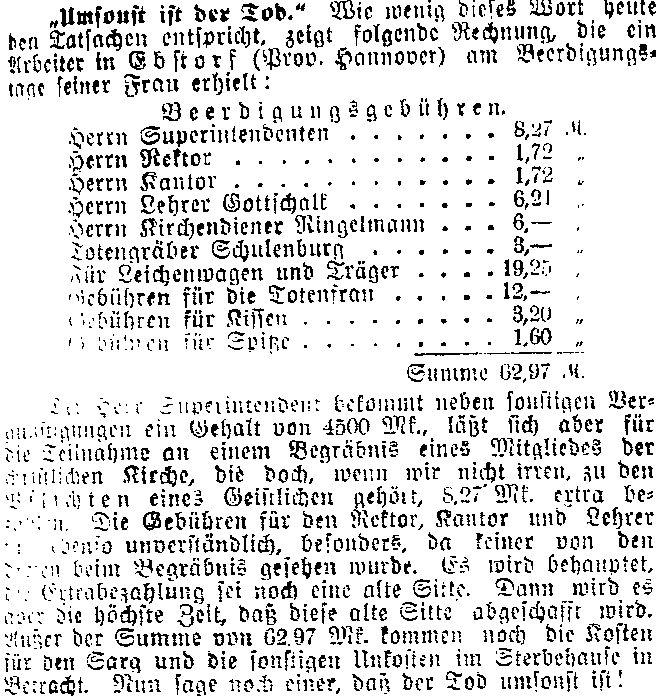 Abdruck der Beerdigungsrechnung und Kommentar im »Lübecker Volksboten« vom 4. Mai 1914.