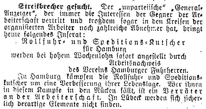 Streikbrecher gesucht. Appell des »Lübecker Volksboten« vom 6. Mai 1914, den Hamburger Arbeitskampf nicht zu behindern.
