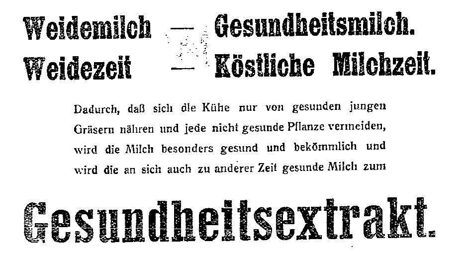 Die Nahrungsmittelwerbung betonte oftmals die gesundheitsfördernde Wirkung der Produkte. Anzeigen aus dem »Lübecker Volksboten« vom 2. (Eisenbier) und vom 12. Juni 1914 (Brot und Milch).