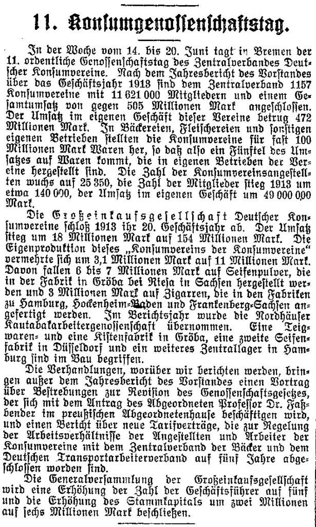 Vorankündigung zum 11. Konsumgenossenschaftstag mit Angaben zu den Jahresberichten 1913 im »Lübecker Volksboten« vom 12. Juni 1914.