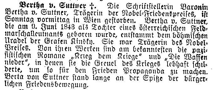 Kurzmeldung zum Tod Bertha von Suttners im »Lübecker Volksboten« vom 22. Juni 1914.