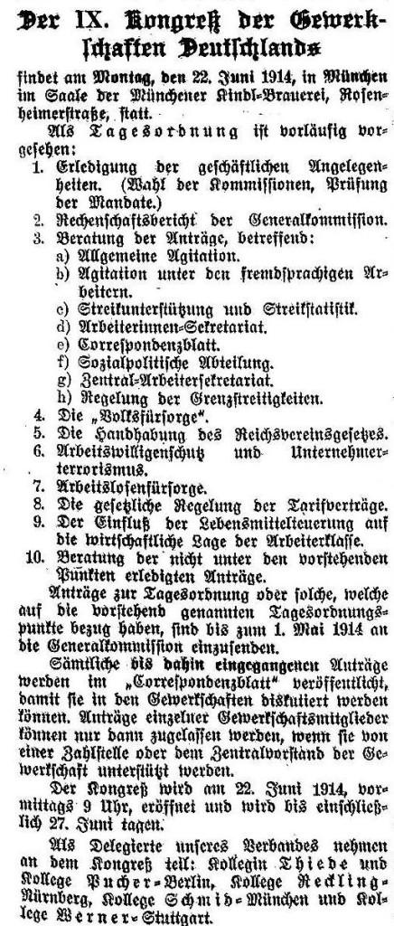 Ankündigung zum Gewerkschaftskongress in der »Solidarität« vom 28. März 1914.