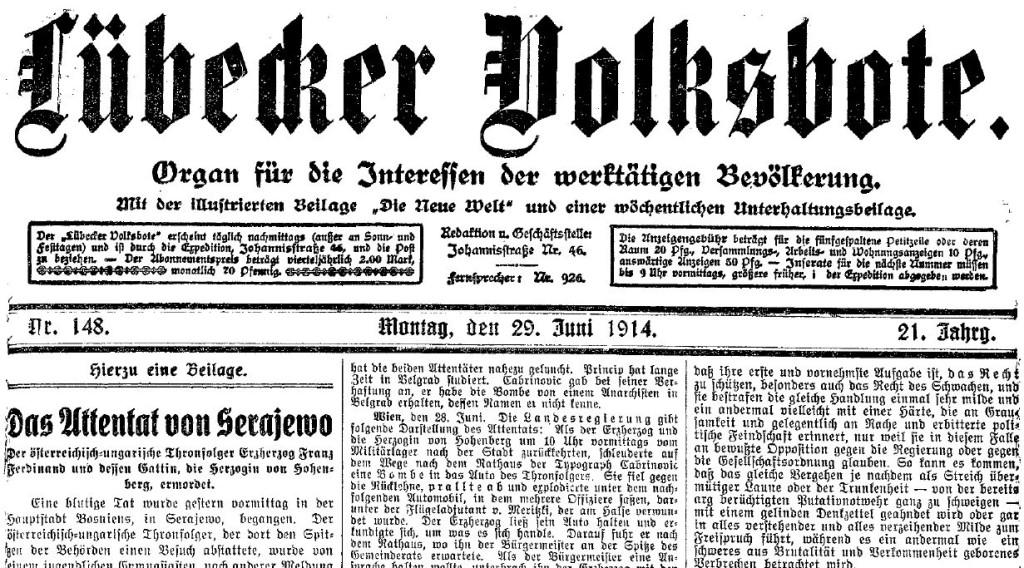 Ausschnitt des Titelblatts des »Lübecker Volksboten« vom 29. Juni 1914.